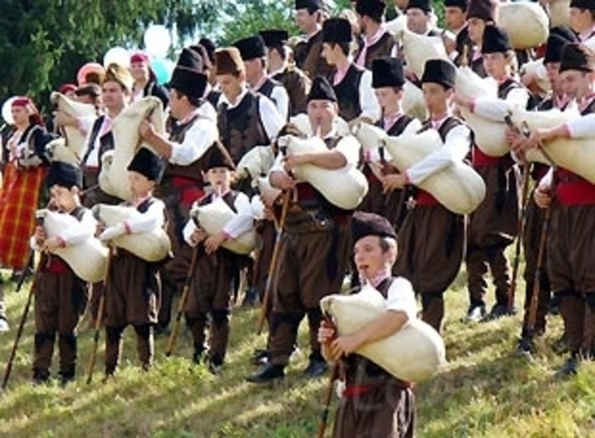 Bagpipers in the village of Gela, the Rhodopes