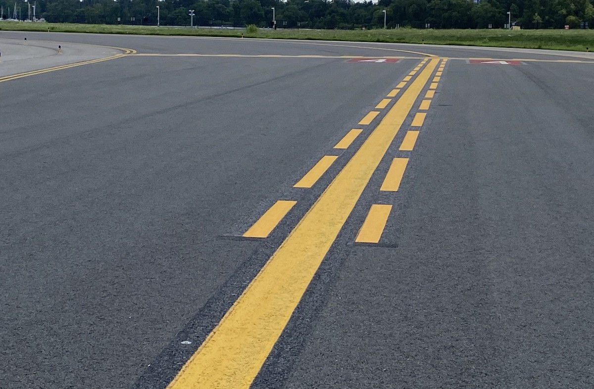 Begins 150' before the Runway Hold Short Marking and consist of 13 dashes with 6' gaps between each one, 12 of which are 9' long and the final dash is 3' long