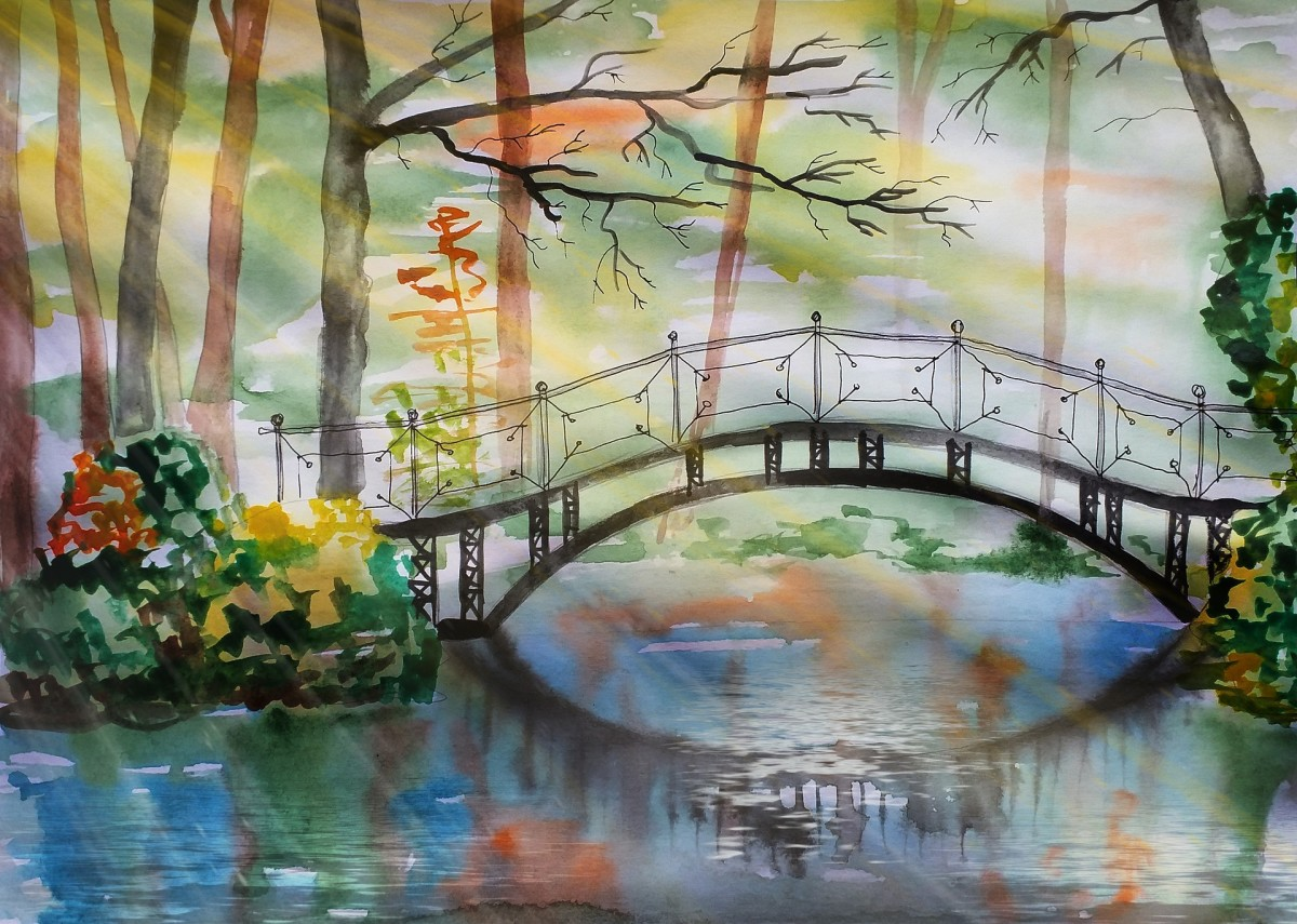 Illustration of a bridge crossing over a water location painted with watercolor techniques.