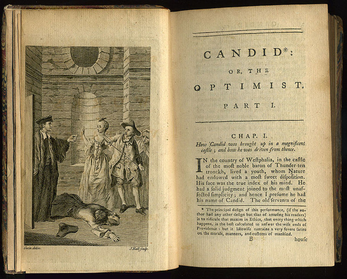 "Frontispiece and first page of chapter one of an early English translation by T. Smollett et al of Voltaire's ""Candide"" , printed by J. Newbery, 1762."