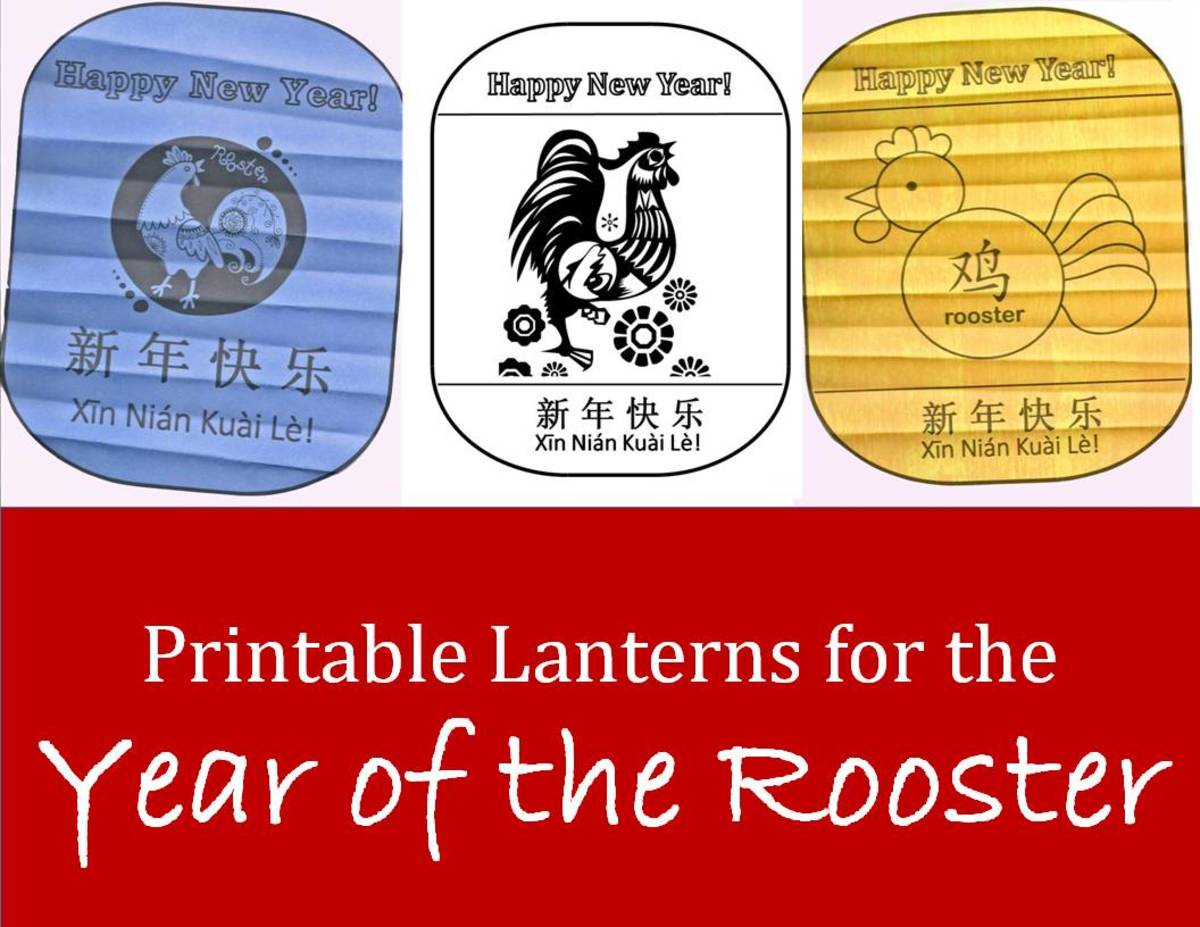 Kid crafts for year of the rooster chinese new year art for Chinese new year lantern template printable