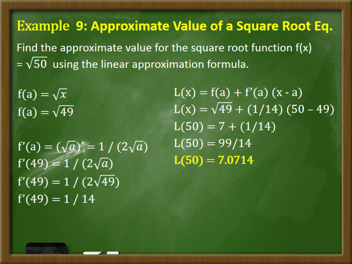 Approximate Value of a Square Root Function
