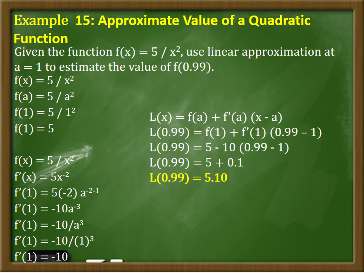 Finding the Approximate Value of a Quadratic Function