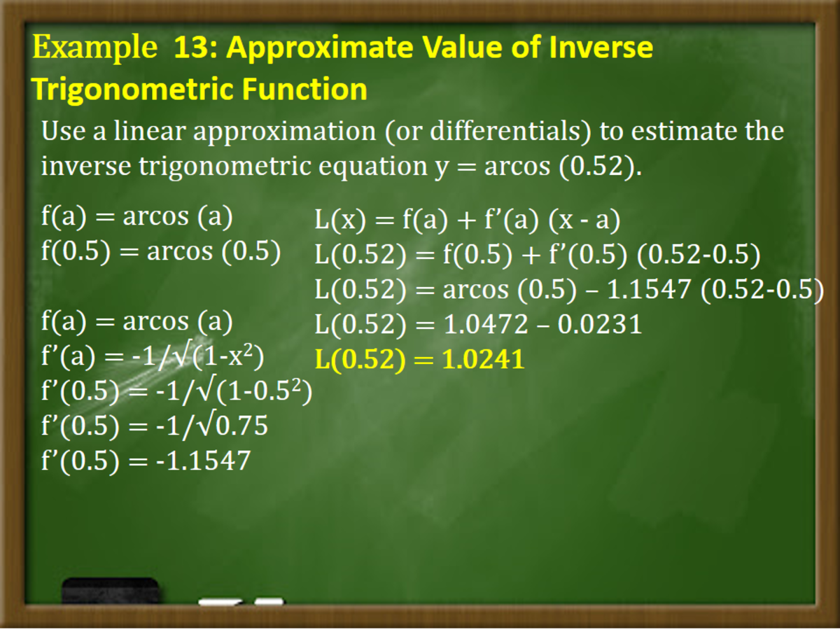 Approximate Value of Inverse Trigonometric Function