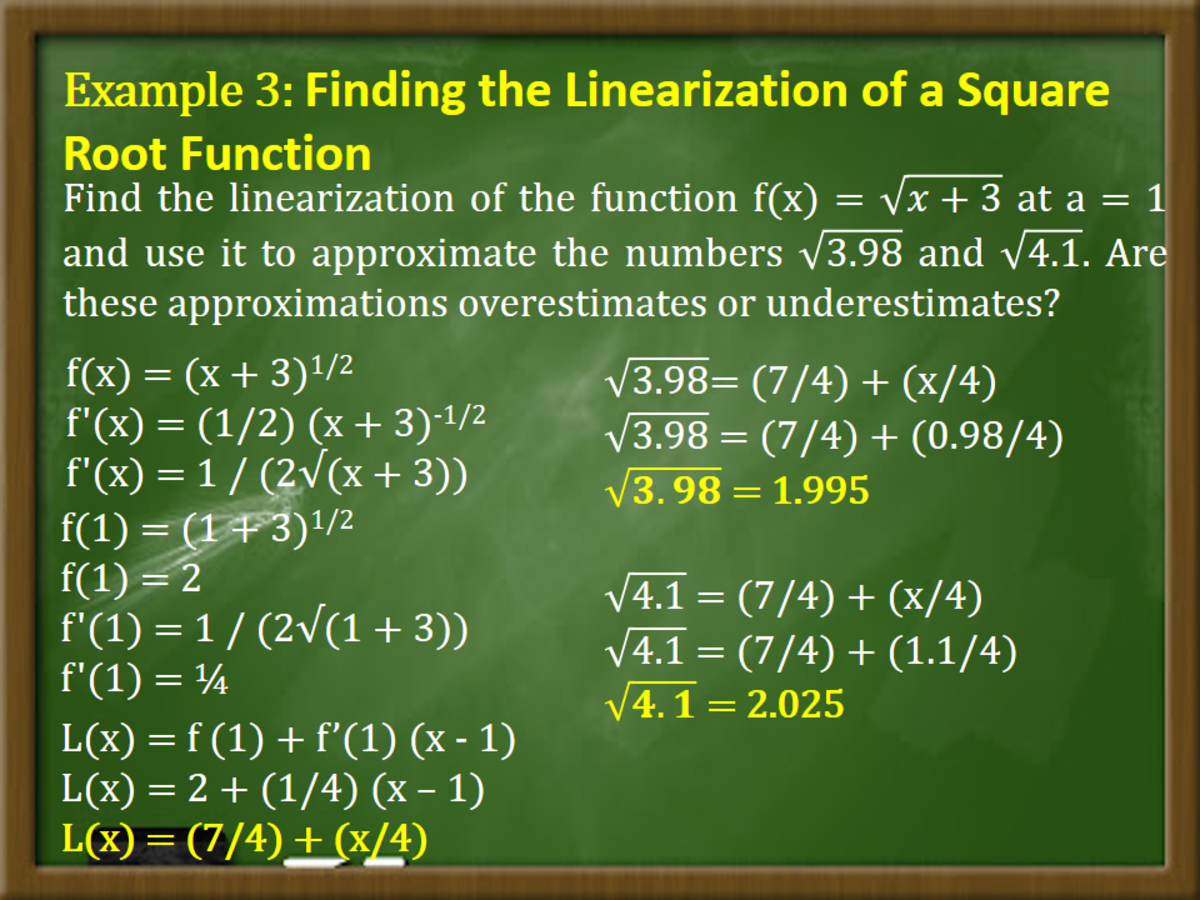 Finding the Linearization of a Square Root Function