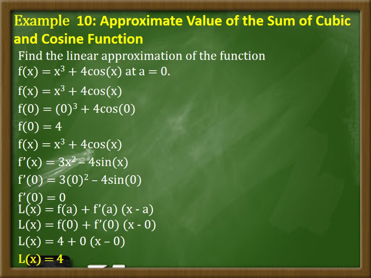 Example 10: Approximate Value of the Sum of Cubic and Cosine Function