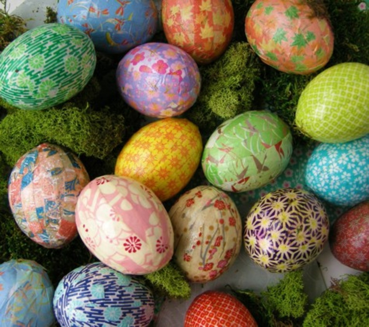 origami paper covered eggs