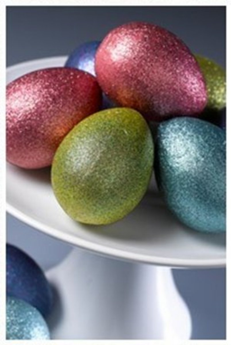 glitter covered eggs