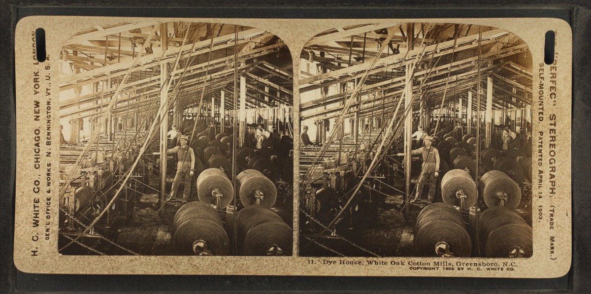 The dyehouse at the White Oak Cotton Mill, in Greensboro, North Carolina. The Cone Mills Corporation, which owned the mill, was formerly the world's largest maker of denim.