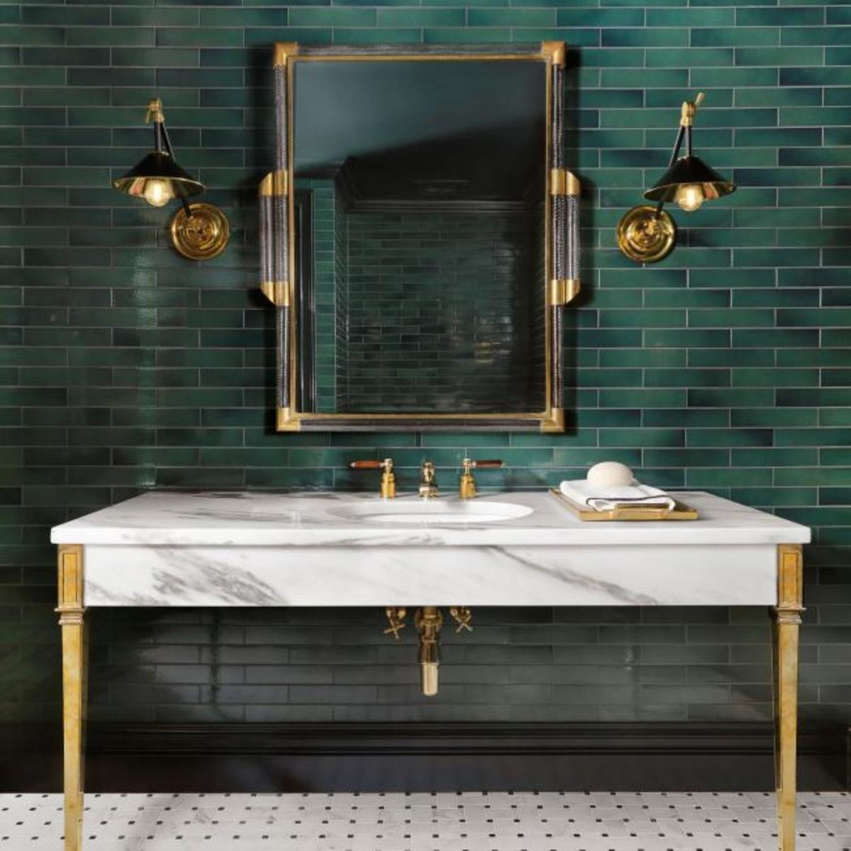I'm loving this dark green and gold look for a Chinese Zodiac Rat's bathroom. The colors are magical and remind me of a hidden forest owned by fairies. This is a bathroom where you can feel like you can relax.
