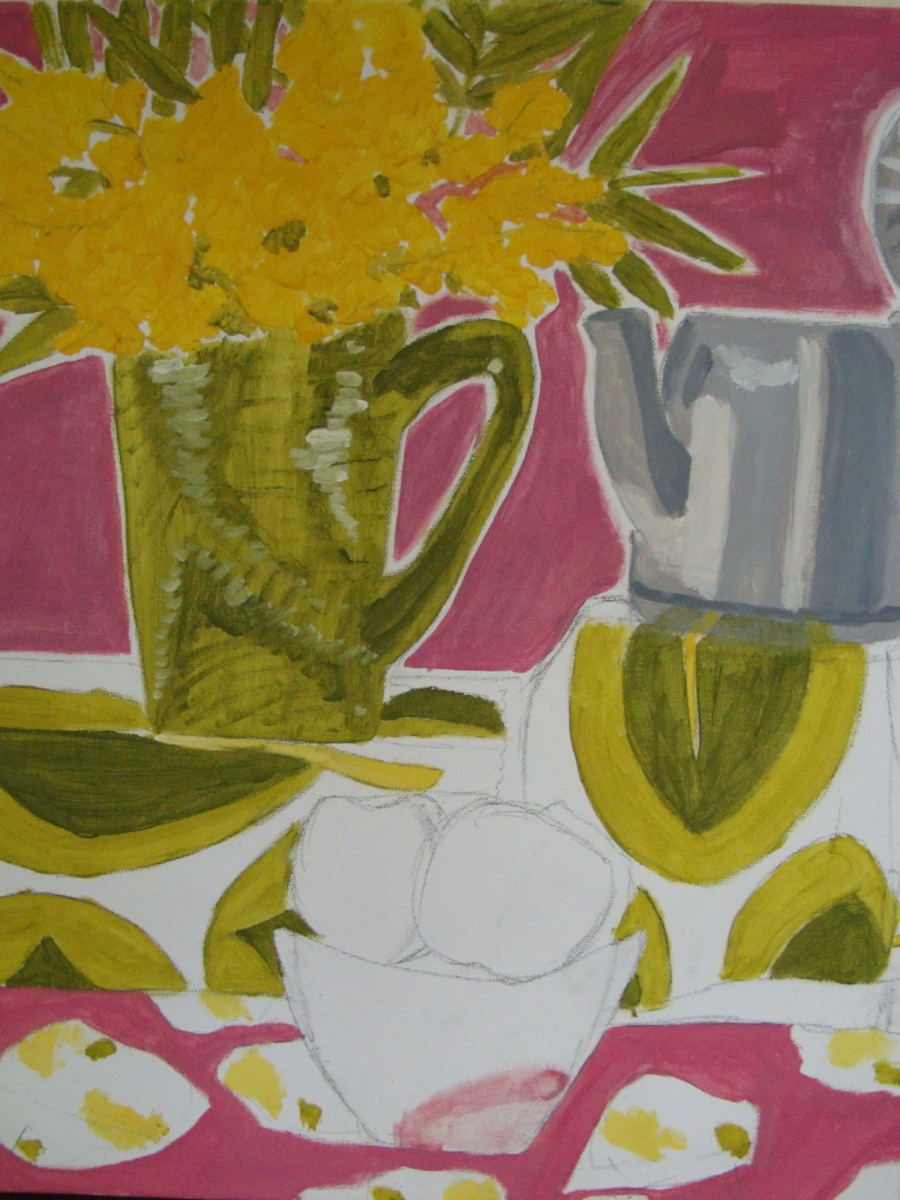Student Painting of a complex still life - reducing it down to it's basic shapes.