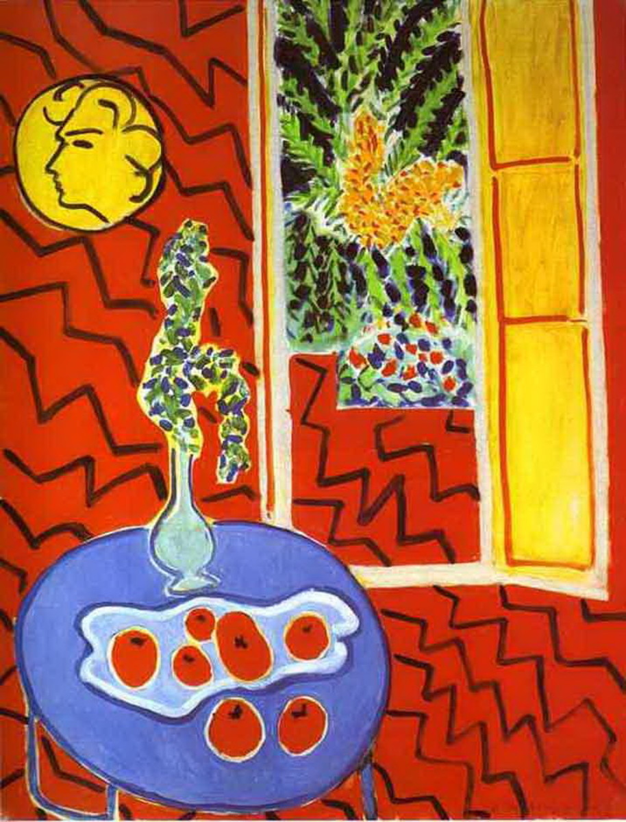 "Henri Matisse  ""Red Interior, Still Life on a Blue Table""(1947) An excellent example of a simplified complex still life"