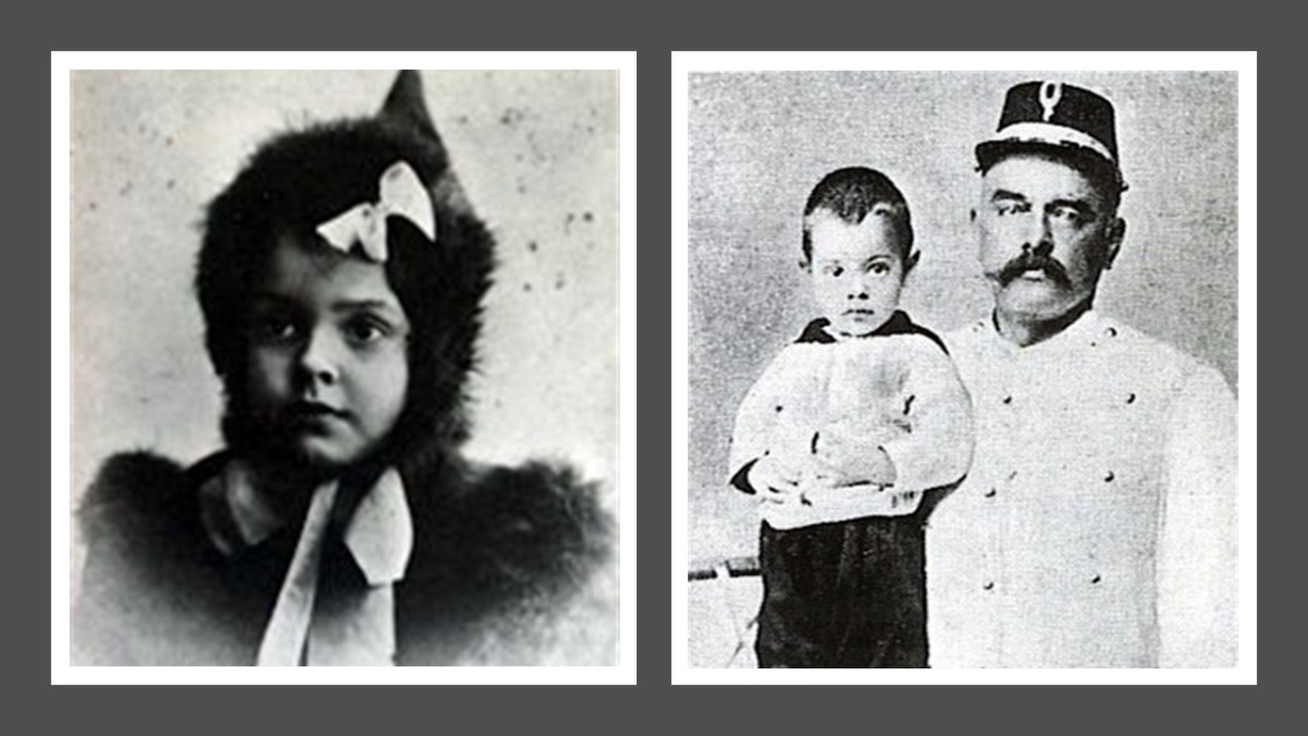 Her children Louise Jeanne and Norman-John, with his father