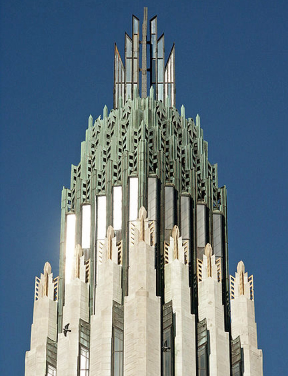 This church spire is an elegant example of Art Deco in buildings