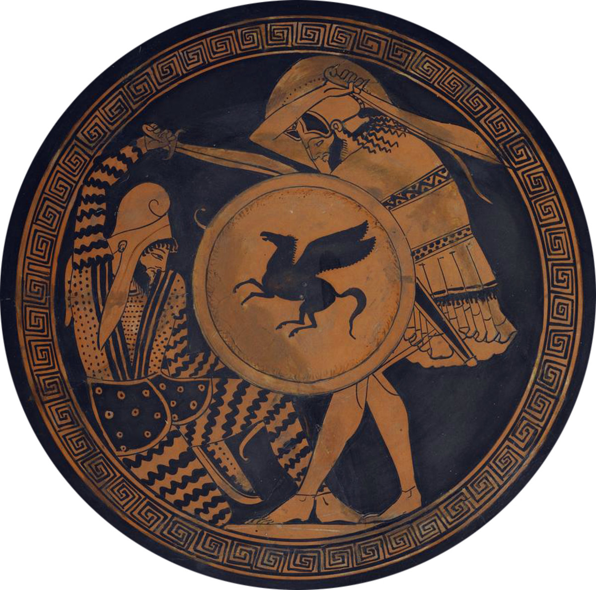 Depiction of a Greek Hoplite fighting a Persian Warrior