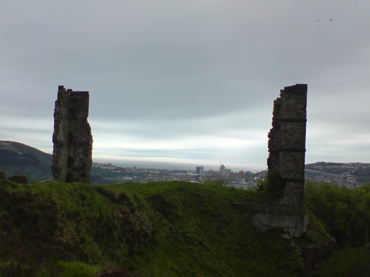 Remains of Morris Castle, looking South towards Swansea City Centre