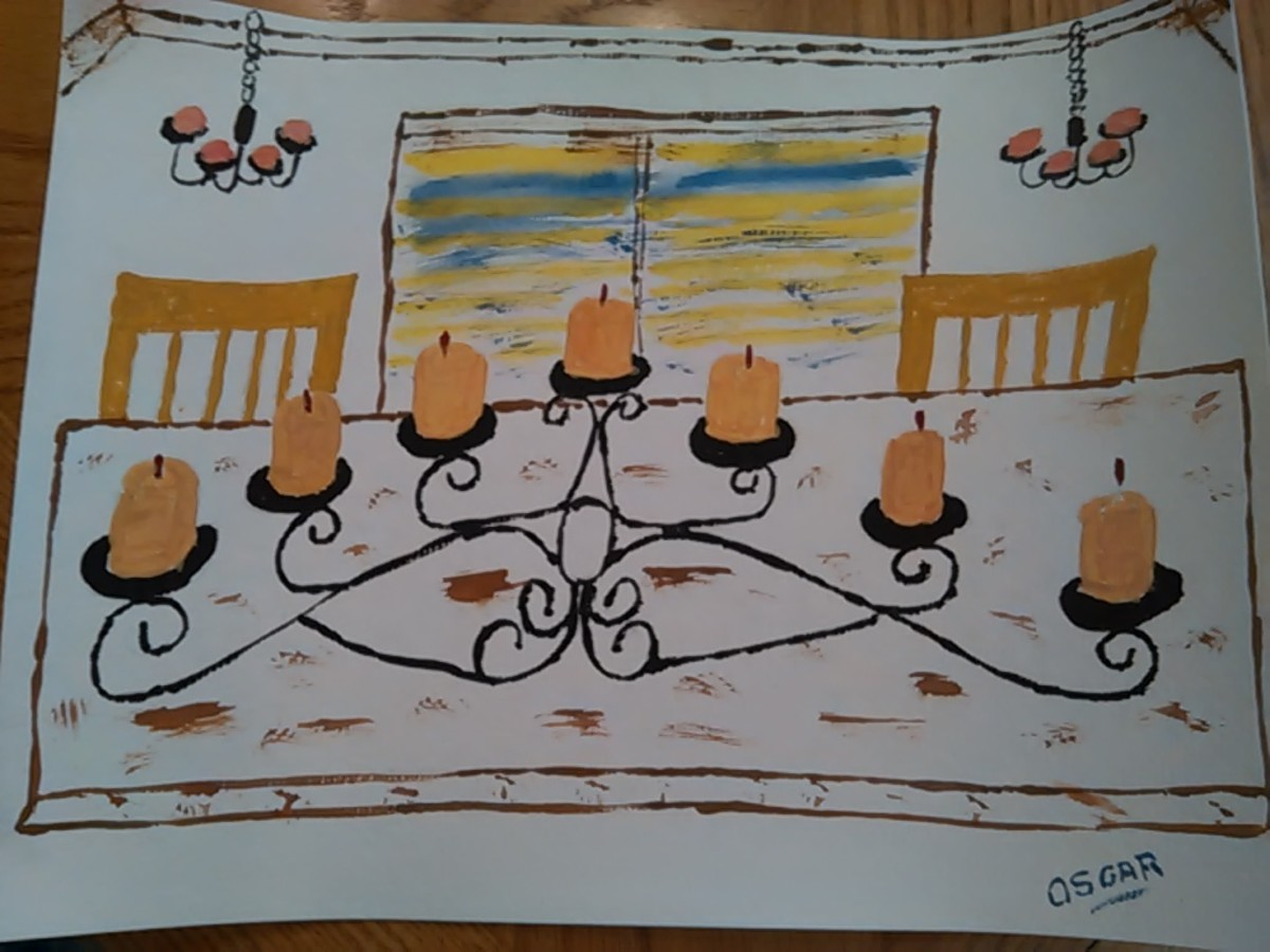 Seven Tier Candle Stick Painting by the Author