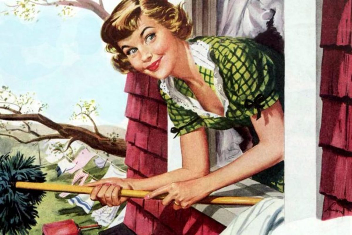 An artist' conception of the typical 1950's housewife.