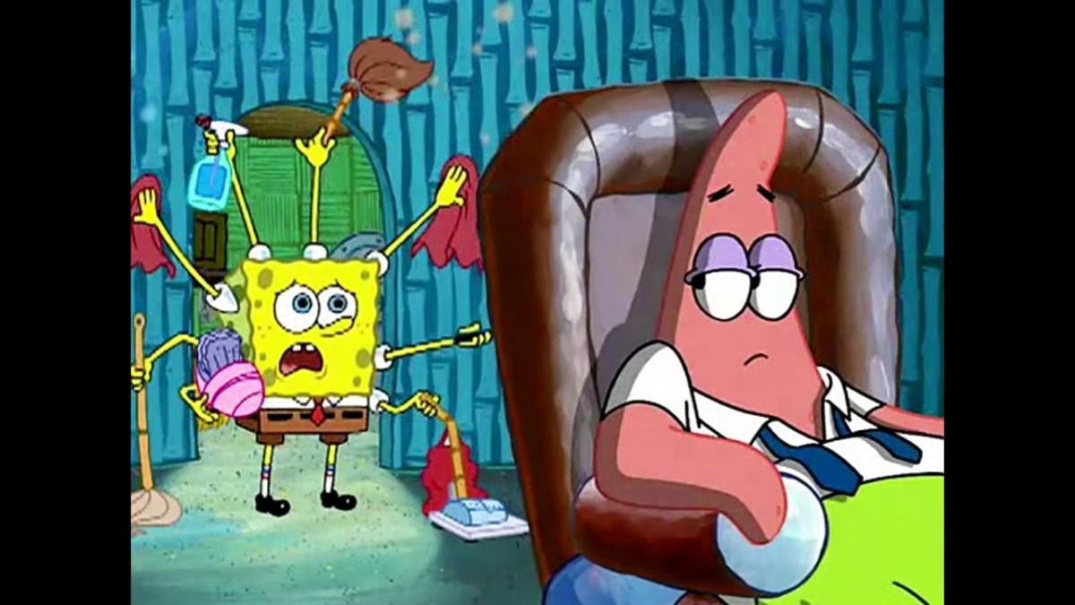 Spongebob doing all the work