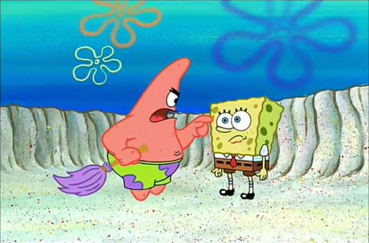 Patrick berating Spongebob