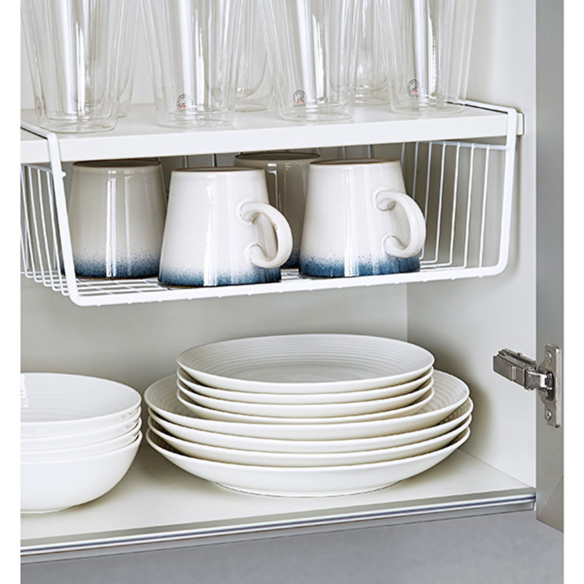 Vinyl-coated under the shelf. The baskets are great for plates or cups. Always slide one onto a kitchen shelf.