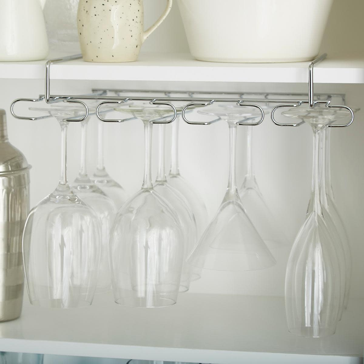 The under-shelf the wine stemware holds slips to hang stemware safely out of the way.