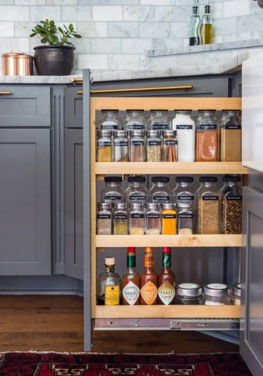 Looking for the best way for the spice cabinet. How to organize spices efficiently and wonderful?