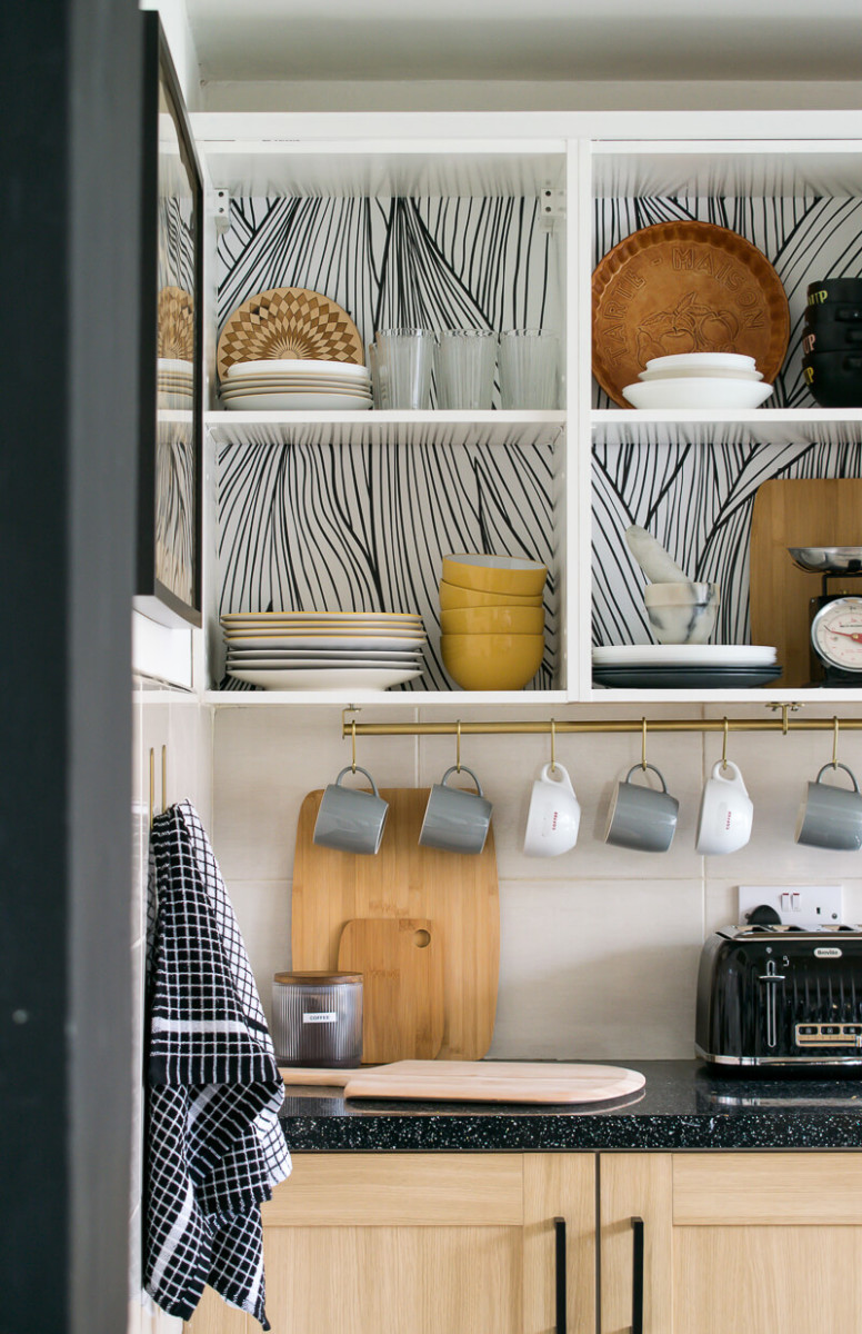 How to create shelving wallpaper in the kitchen cabinets?
