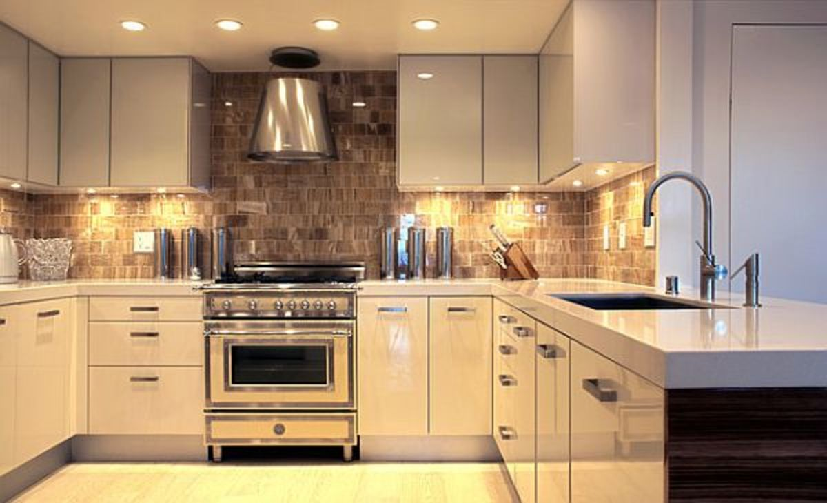 This is the modern shiny kitchen with under cabinets lighting!