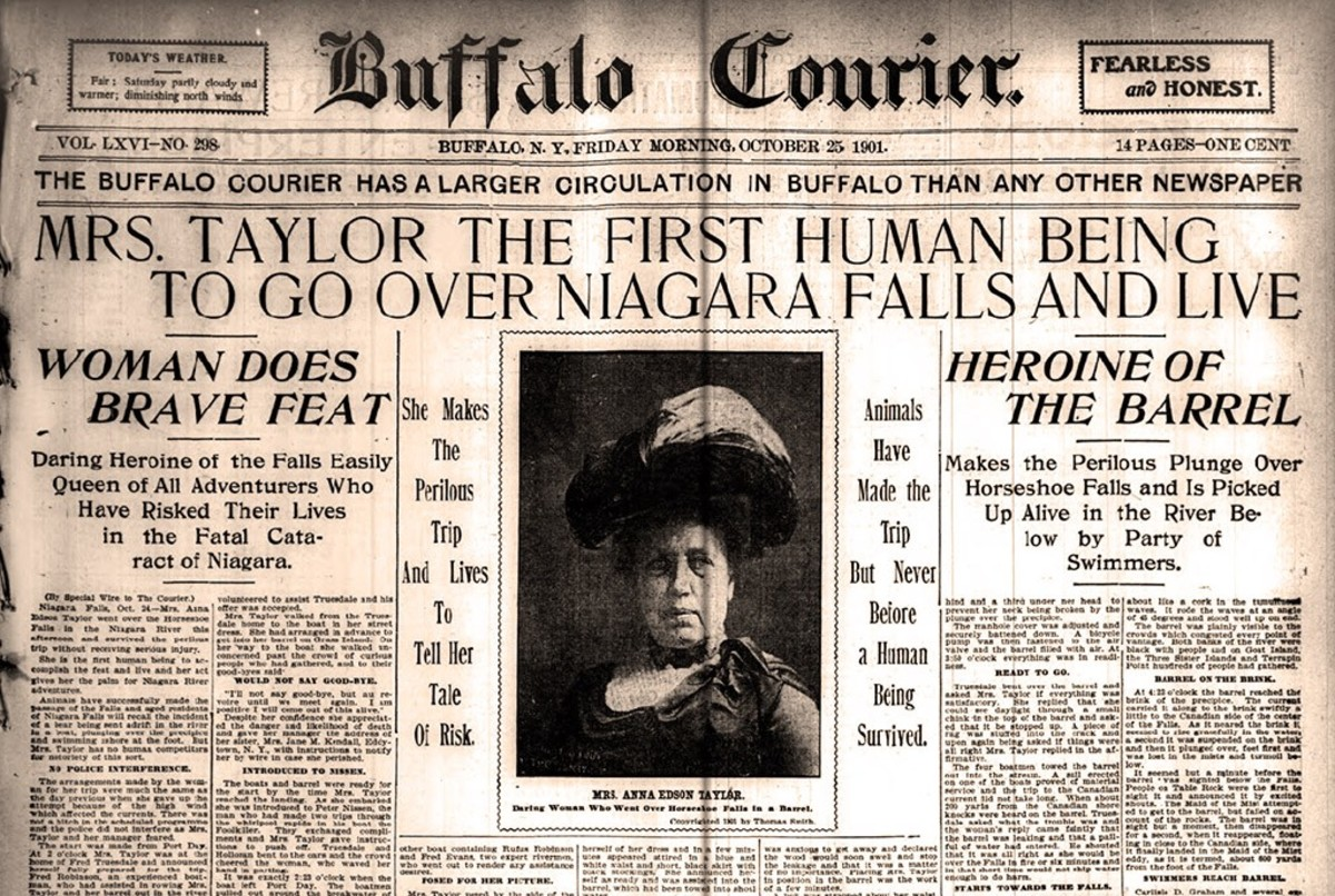 Newspaper Reporting Annie Taylor surviving Niagara Falls stunt