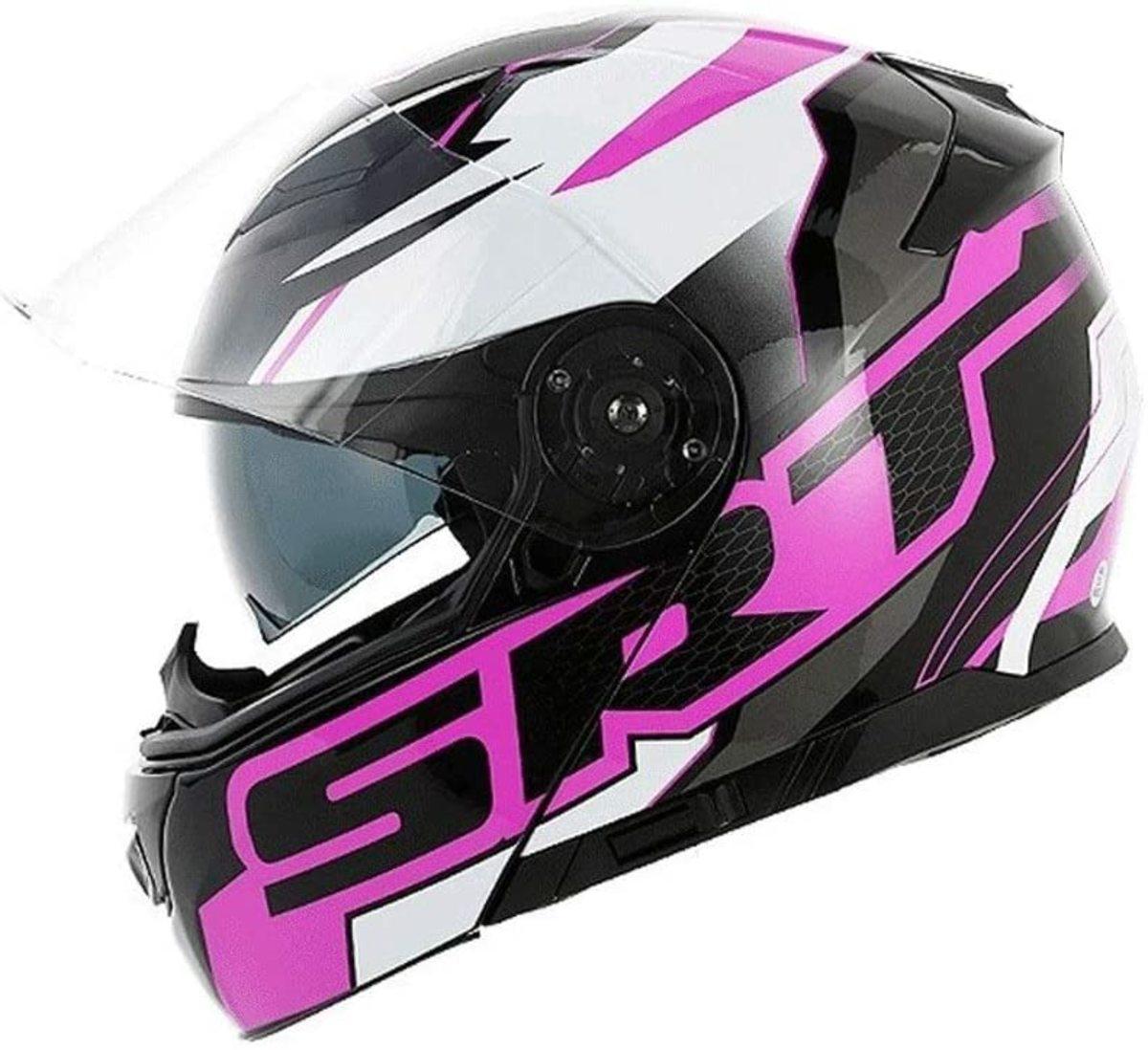 Double Lens Open Face Motorcycle Helmet Men Women Anti-Fog Full Helmet Cover Locomotive Four Seasons Security Protection (Color : Black Purple Dodge)