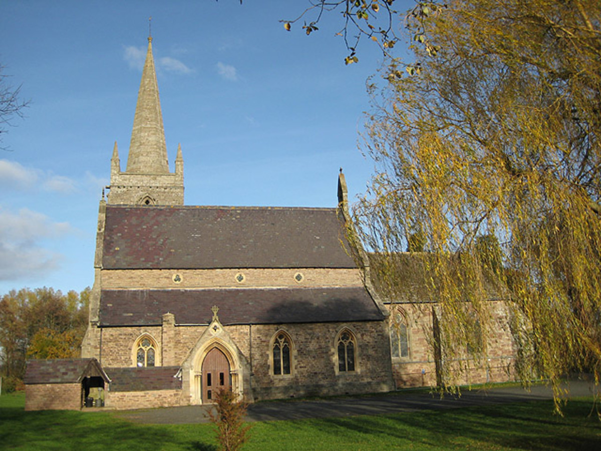 South face of Marden Church, dedicated to St. Mary the Virgin, standing on the banks of the River Lugg.