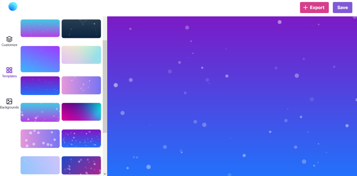Creating an animated particle background; this image isn't animated but the backgrounds are!