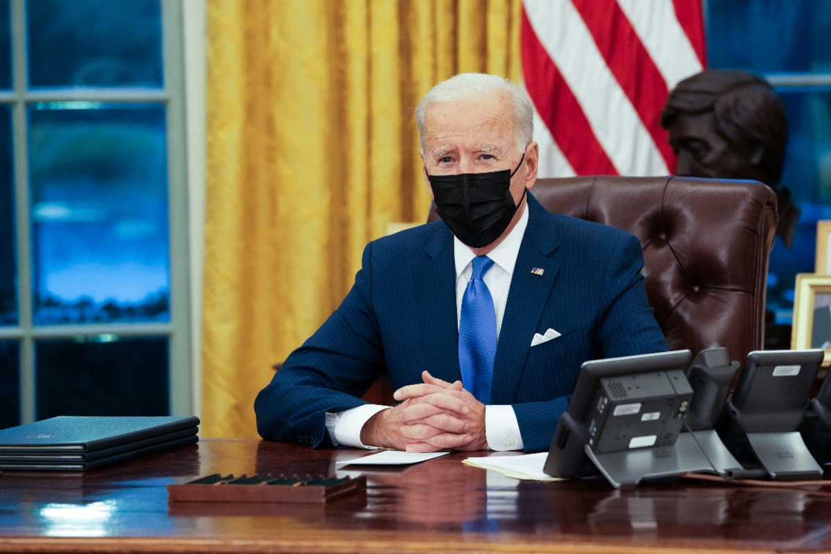 President Joe Biden makes brief remarks in the Oval Office at the White House.