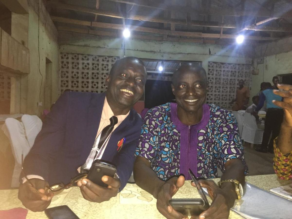 Dr. Seyi Ajao and Segun, two Jolly friends at Dinner night in Ilorin, Nigeria.