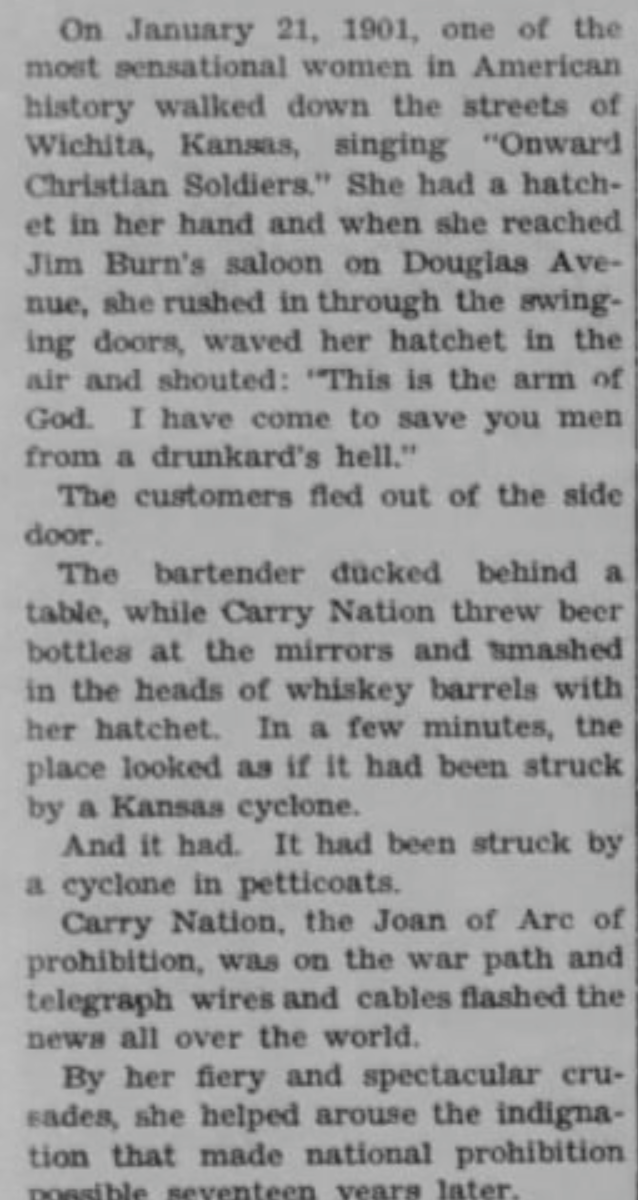 The Bremen Enquirer  (Bremen, Indiana) 05 Jan 1939, Thu  • Page 7 - An article about Carry Nation by Dale Carnegie.