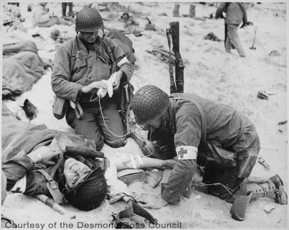 Desmond Doss during battle