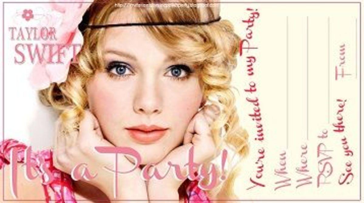 Free Printable Taylor Swift Invitation templates