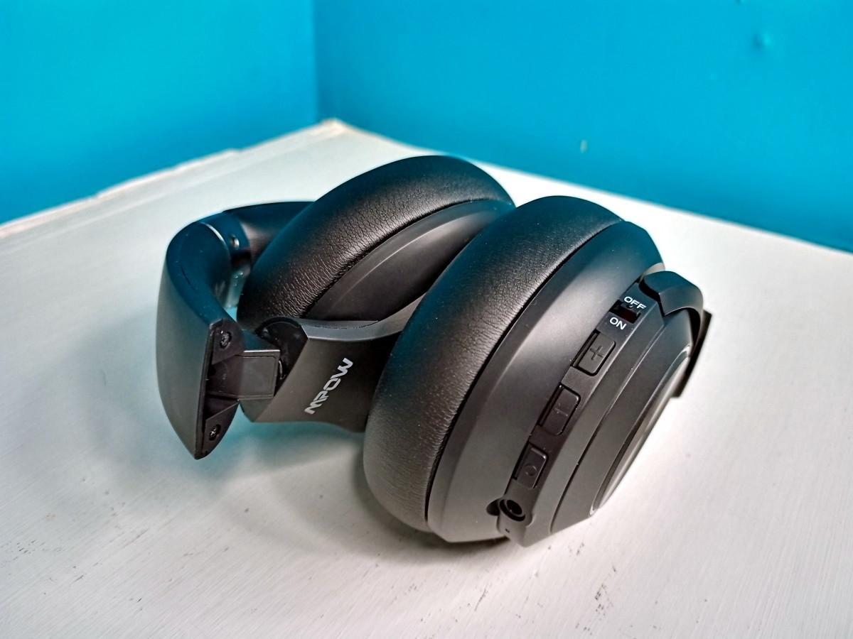 Headphones folded for storage
