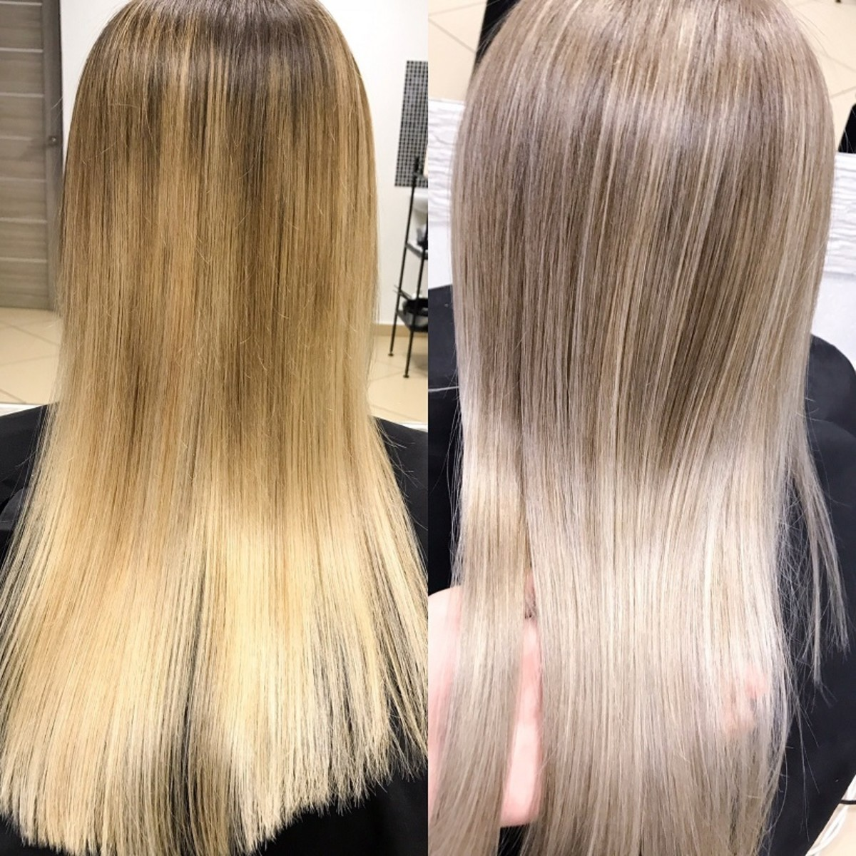Toning transforms bleached blonde hair into a beautiful result