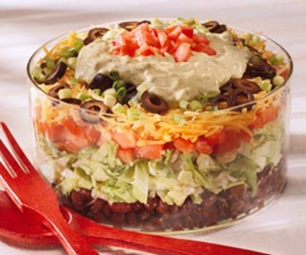 Layered Chicken Taco Salad - customize this quick, easy, healthy salad to your own tastes. Add your choice of tomatoes, sour cream, salsa, olives, onions, scallions, avocados, cheese, and lettuces.