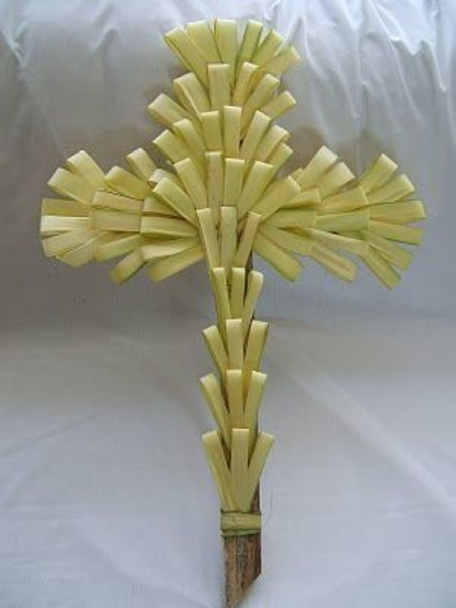 Cross made from palm fronds.