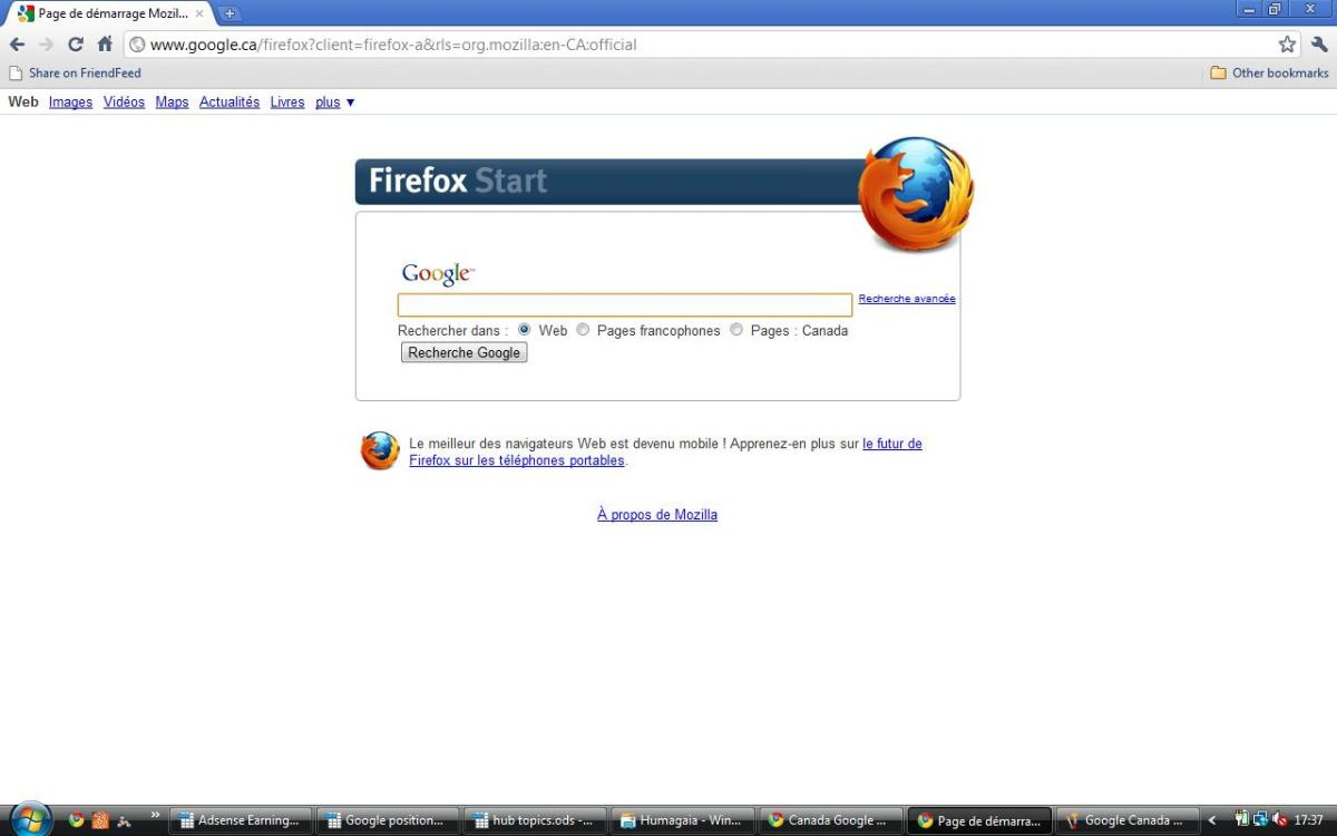 Google Canada (Firefox version) in French