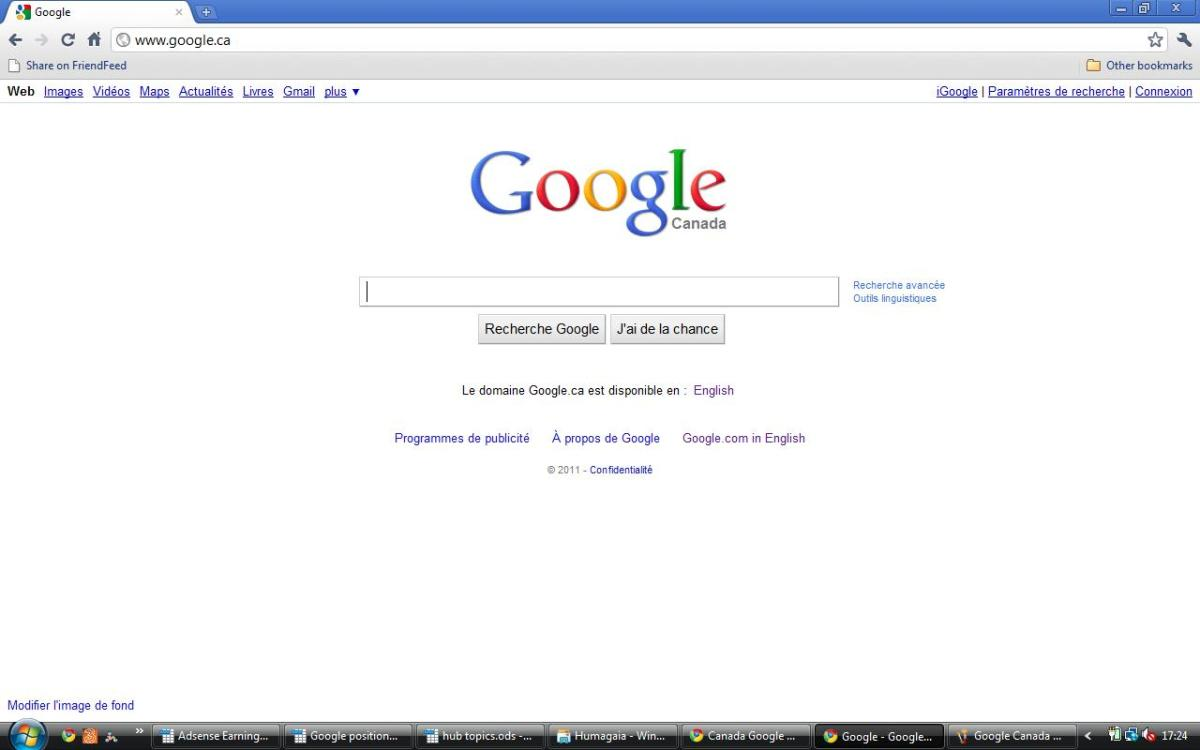 Google Canada in French (francais)