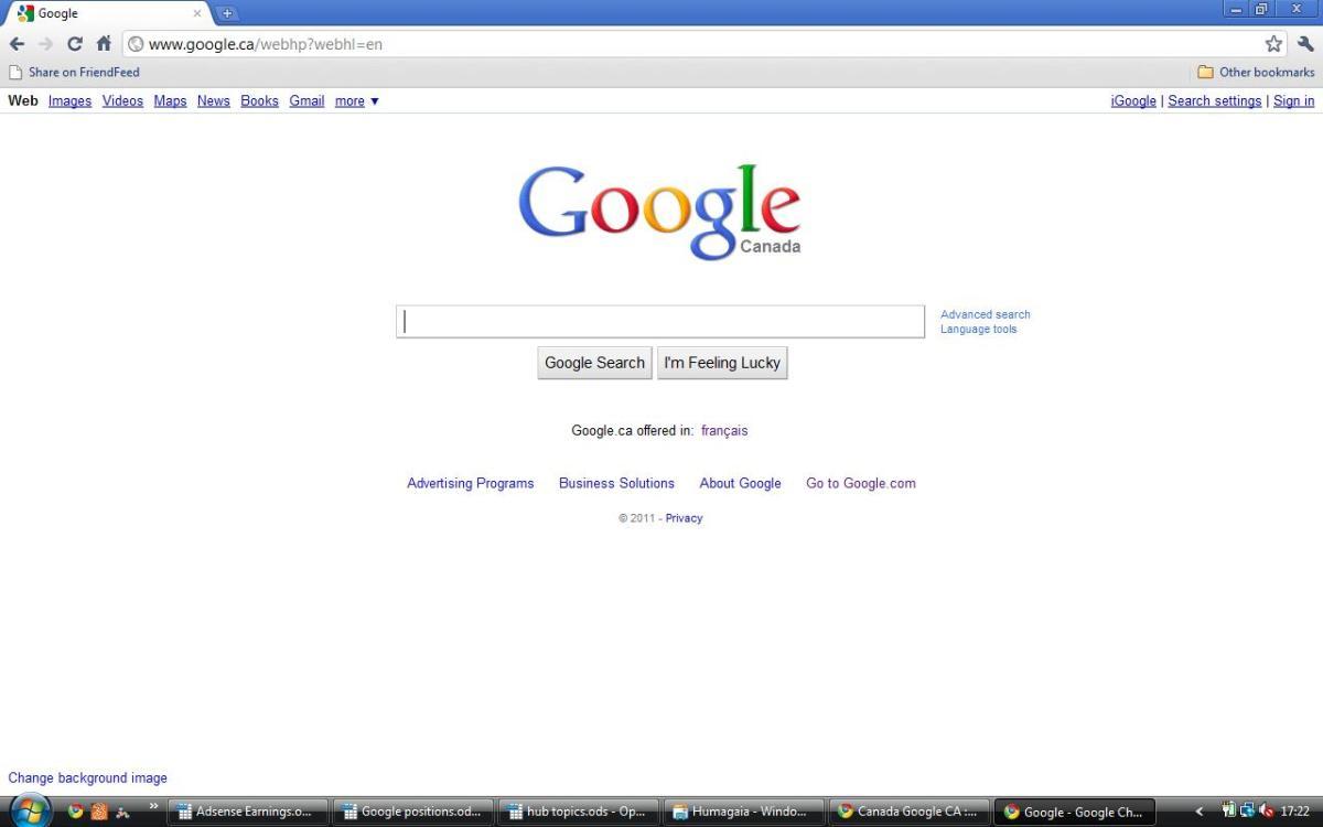 Canada Google CA : www google ca : Google Canada: Search, Webhp: English, French