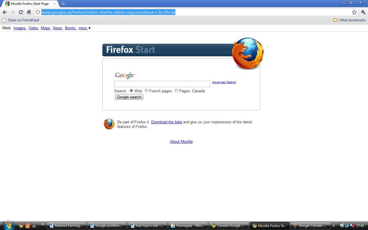 Google Canada (Firefox version) in English