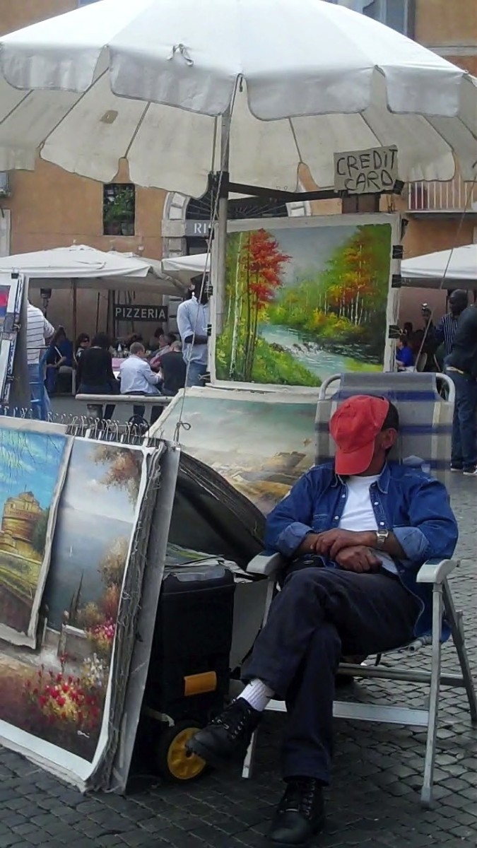Resting Artist on the Piazza Navona, Rome, Italy
