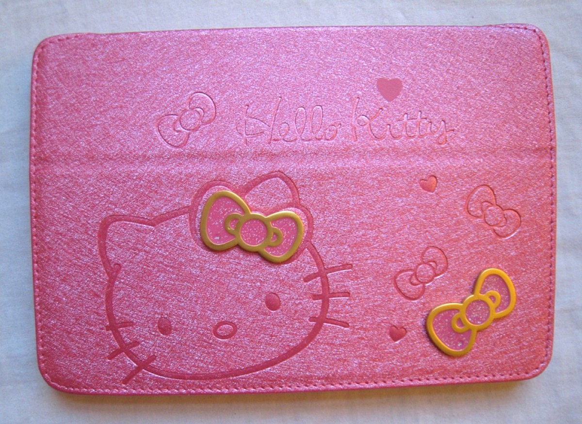Perhaps the most popular style of Hello Kitty case for iPad mini is this folding leather case