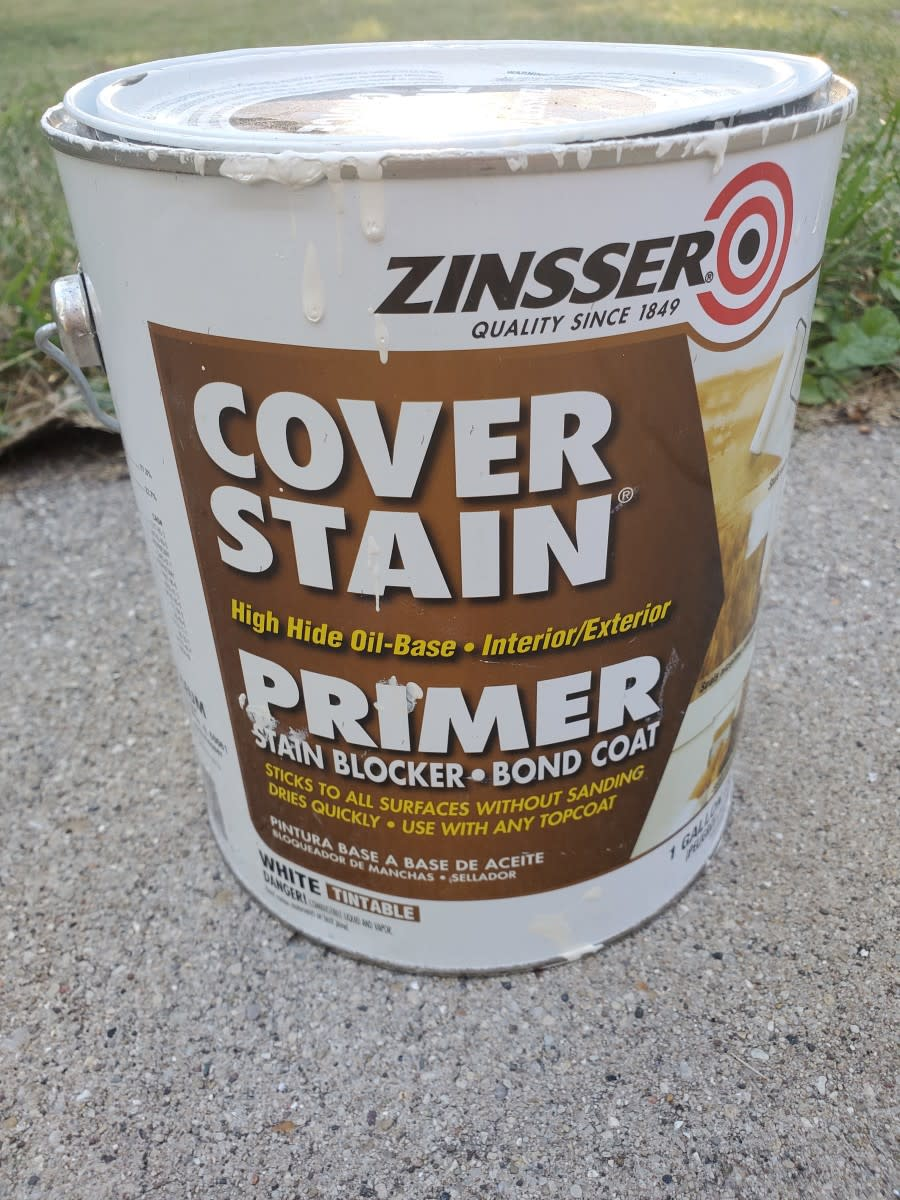 My favorite primer for stained walls and torn open drywall paper.