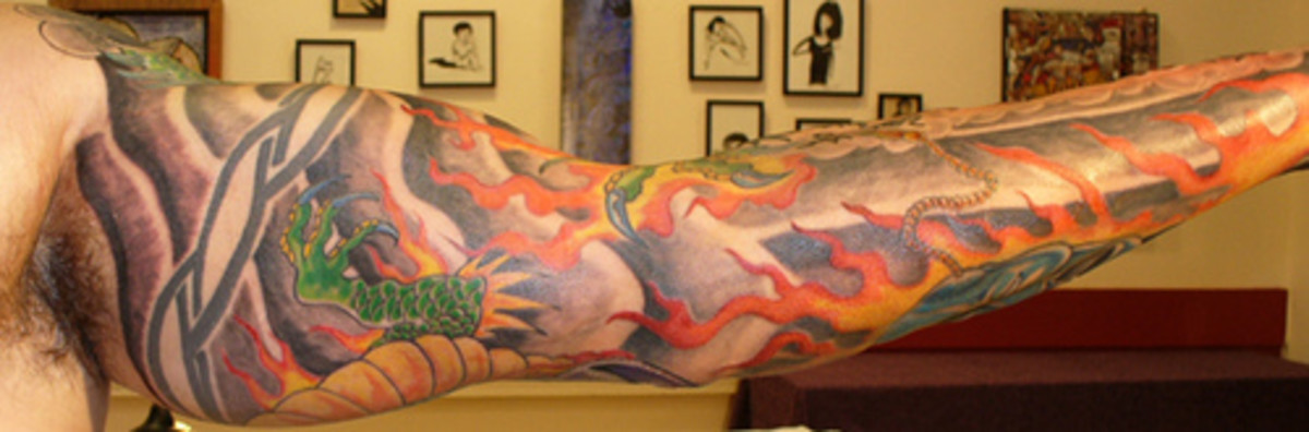 Nice Full Arm Dragon Sleeve Tattoo